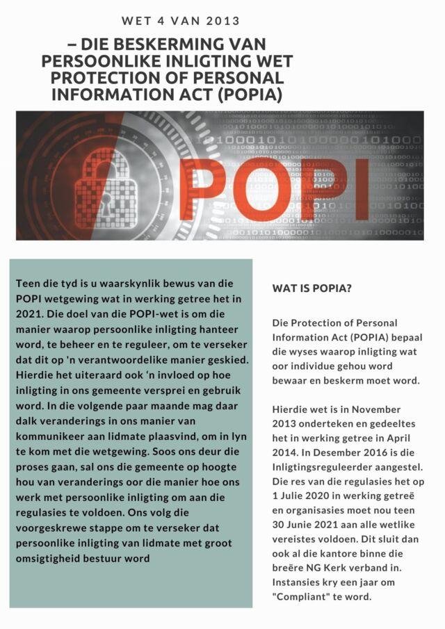 WET 4 VAN 2013 – DIE BESKERMING VAN PERSOONLIKE INLIGTING WETPROTECTION OF PERSONAL INFORMATION ACT (POPIA)